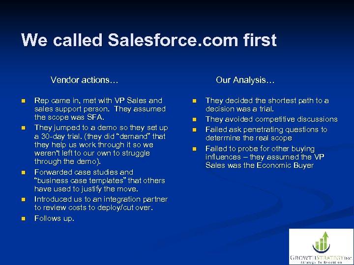 We called Salesforce. com first Vendor actions… n n n Rep came in, met