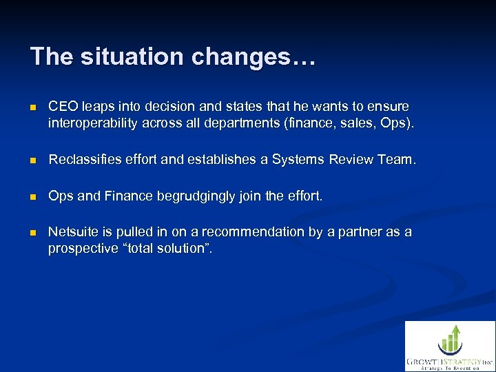 The situation changes… n CEO leaps into decision and states that he wants to
