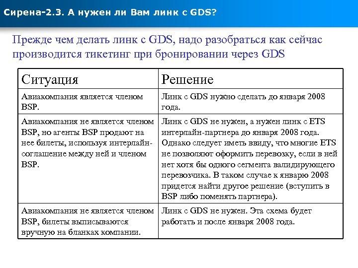 Сирена-2. 3. А нужен ли Вам линк с GDS? Прежде чем делать линк с