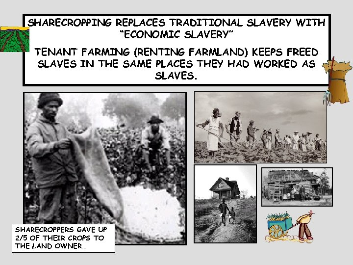 """SHARECROPPING REPLACES TRADITIONAL SLAVERY WITH """"ECONOMIC SLAVERY"""" TENANT FARMING (RENTING FARMLAND) KEEPS FREED SLAVES"""
