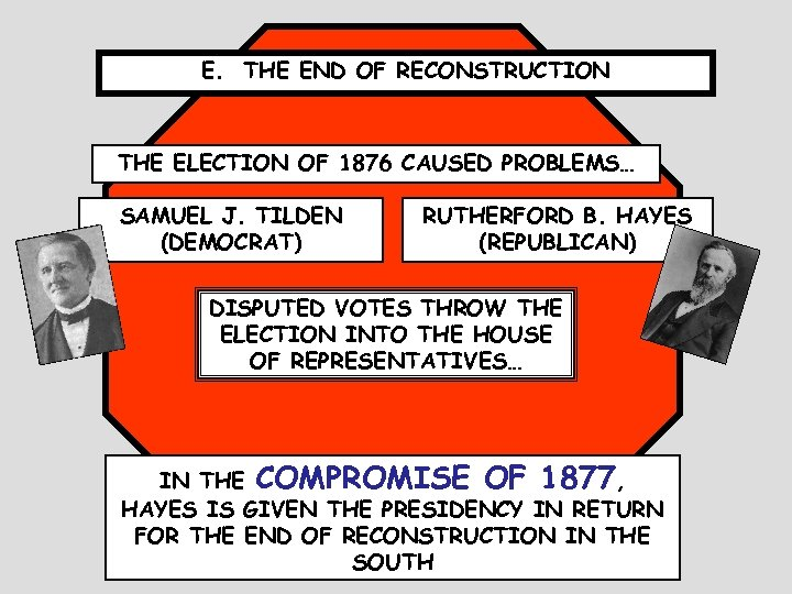 E. THE END OF RECONSTRUCTION THE ELECTION OF 1876 CAUSED PROBLEMS… SAMUEL J. TILDEN