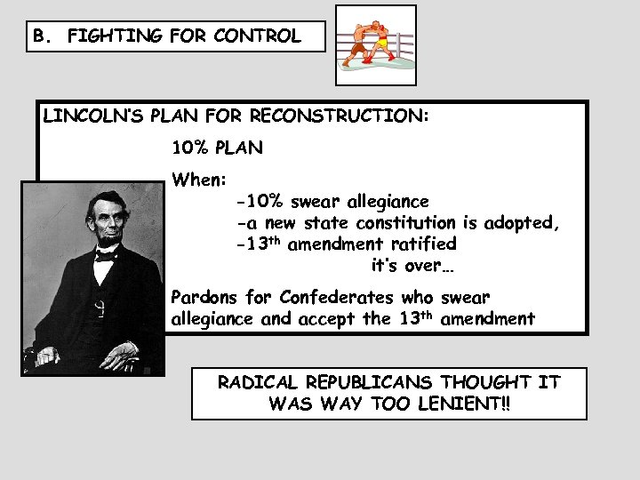 B. FIGHTING FOR CONTROL LINCOLN'S PLAN FOR RECONSTRUCTION: 10% PLAN When: when they -10%