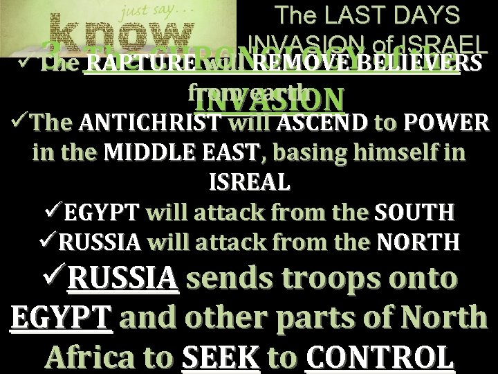 The LAST DAYS INVASION of ISRAEL üThe CHRONOLOGY of the RAPTURE will REMOVE BELIEVERS