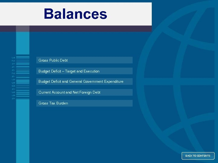 Balances Gross Public Debt Budget Deficit – Target and Execution Budget Deficit and General