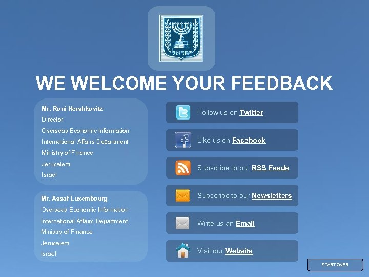 WE WELCOME YOUR FEEDBACK Mr. Roni Hershkovitz Director Follow us on Twitter Overseas Economic
