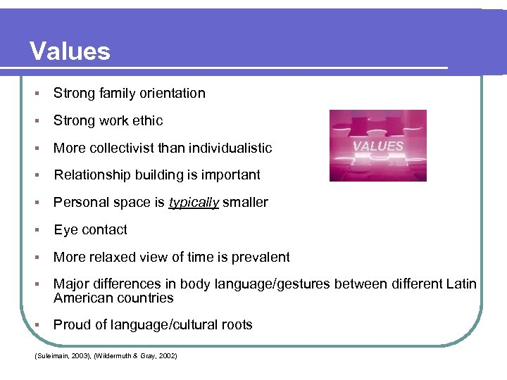 Values § Strong family orientation § Strong work ethic § More collectivist than individualistic