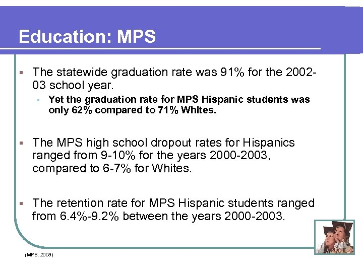 Education: MPS § The statewide graduation rate was 91% for the 200203 school year.