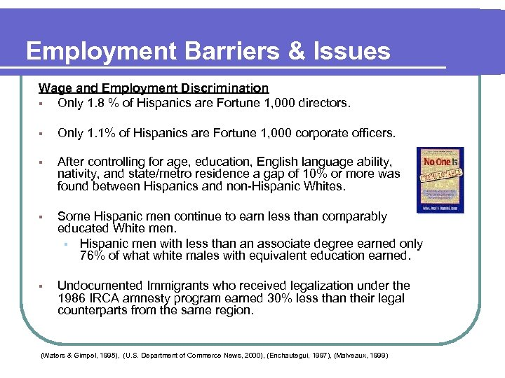 Employment Barriers & Issues Wage and Employment Discrimination § Only 1. 8 % of