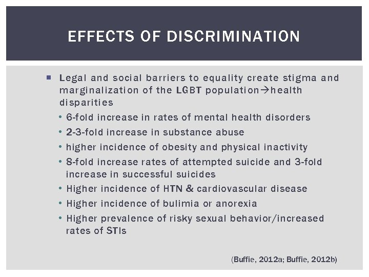 EFFECTS OF DISCRIMINATION Legal and social barriers to equality create stigma and marginalization of