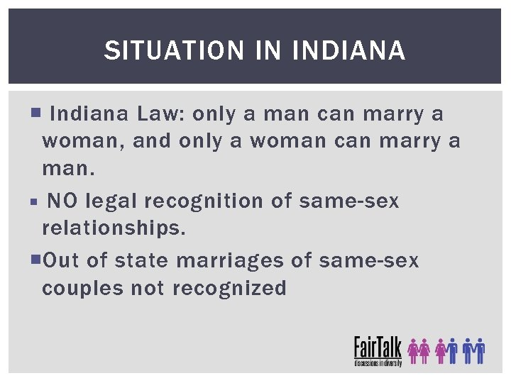 SITUATION IN INDIANA Indiana Law: only a man can marry a woman, and only
