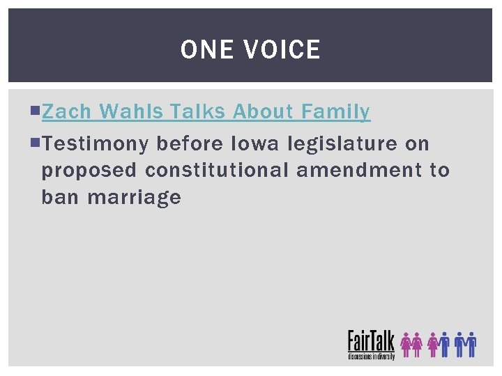 ONE VOICE Zach Wahls Talks About Family Testimony before Iowa legislature on proposed constitutional