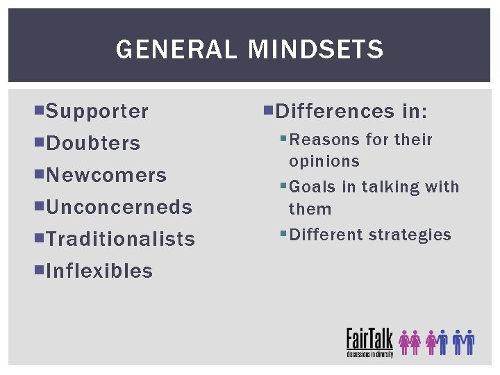 GENERAL MINDSETS Supporter Doubters Newcomers Unconcerneds Traditionalists Inflexibles Differences in: § Reasons for their