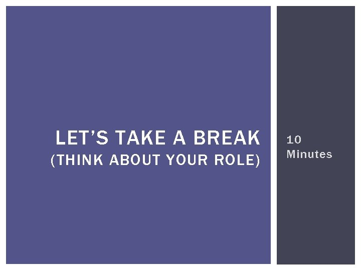 LET'S TAKE A BREAK (THINK ABOUT YOUR ROLE) 10 Minutes