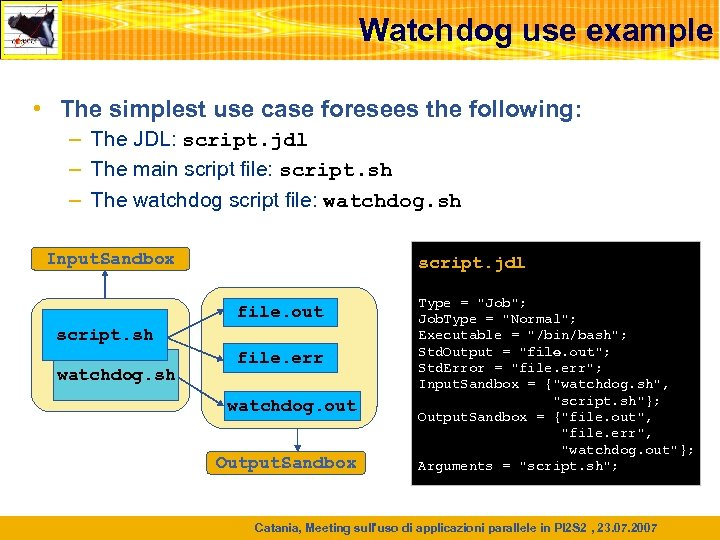 Watchdog use example • The simplest use case foresees the following: – The JDL: