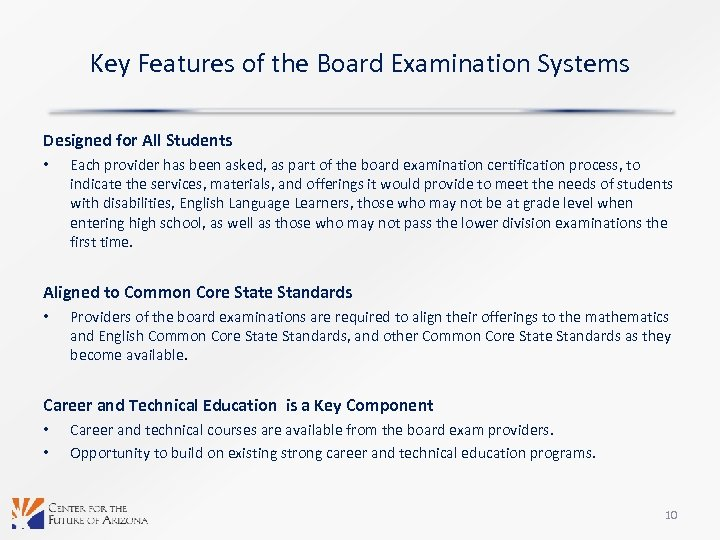 Key Features of the Board Examination Systems Designed for All Students • Each provider