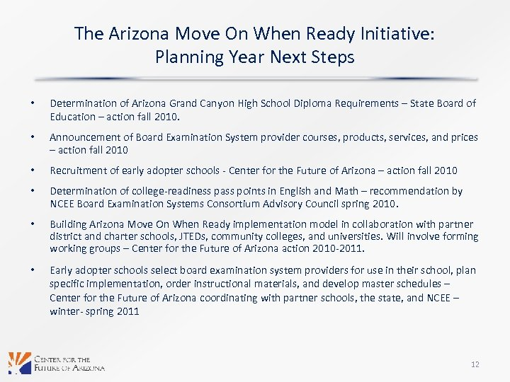 The Arizona Move On When Ready Initiative: Planning Year Next Steps • Determination of
