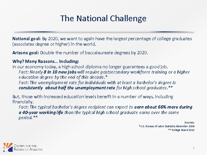 The National Challenge National goal: By 2020, we want to again have the largest