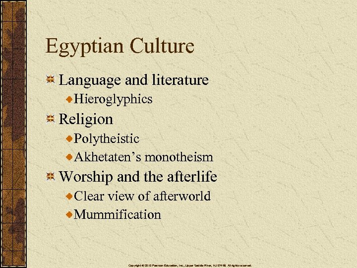 Egyptian Culture Language and literature Hieroglyphics Religion Polytheistic Akhetaten's monotheism Worship and the afterlife