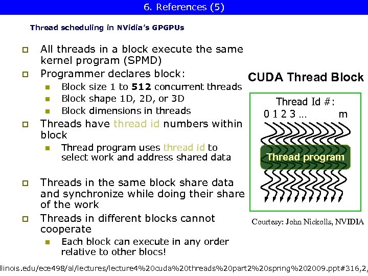 6. References (5) CUDA Thread Block Thread scheduling in NVidia's GPGPUs p p All