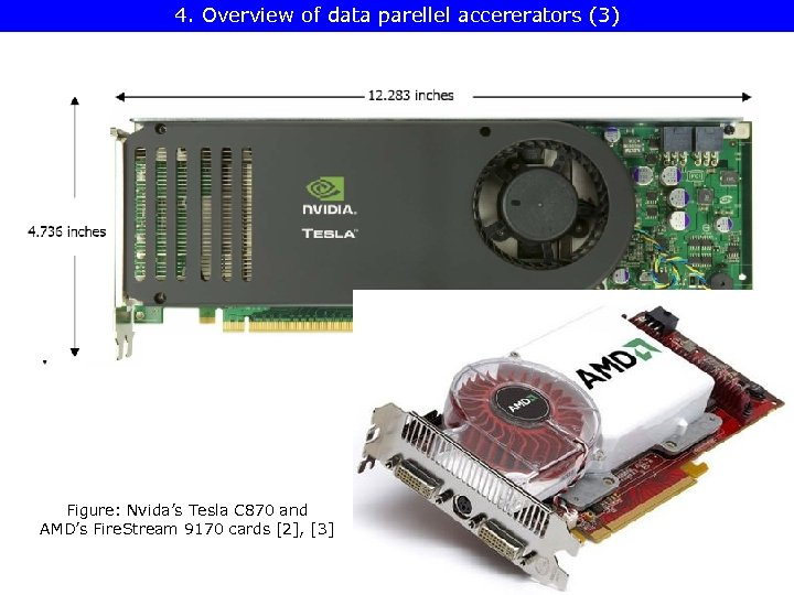 4. Overview of data parellel accererators (3) Figure: Nvida's Tesla C 870 and AMD's