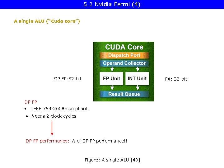 """5. 2 Nvidia Fermi (4) A single ALU (""""Cuda core"""") SP FP: 32 -bit"""