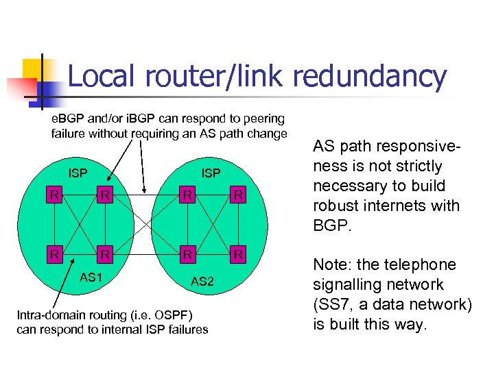 Local router/link redundancy e. BGP and/or i. BGP can respond to peering failure without