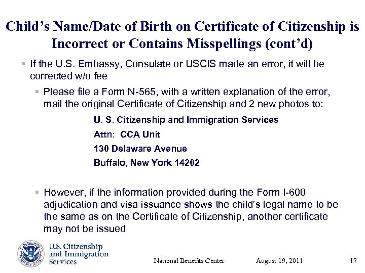 Child's Name/Date of Birth on Certificate of Citizenship is Incorrect or Contains Misspellings (cont'd)