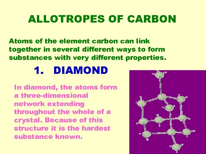 ALLOTROPES OF CARBON Atoms of the element carbon can link together in several different