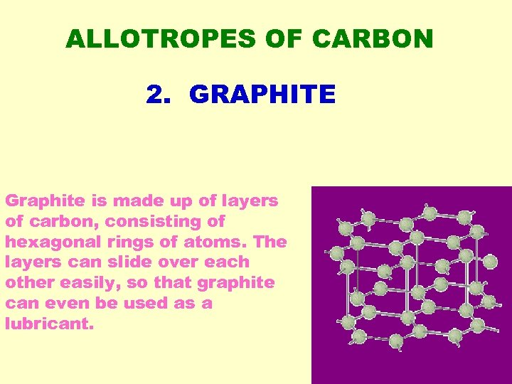 ALLOTROPES OF CARBON 2. GRAPHITE Graphite is made up of layers of carbon, consisting