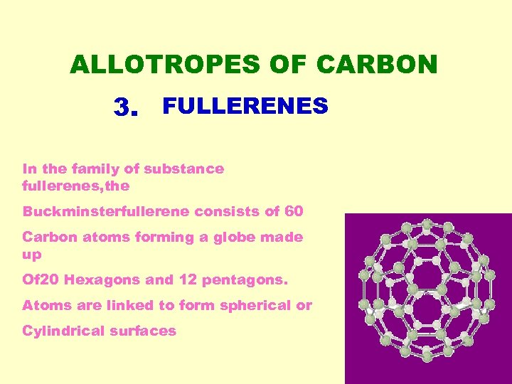 ALLOTROPES OF CARBON 3. FULLERENES In the family of substance fullerenes, the Buckminsterfullerene consists