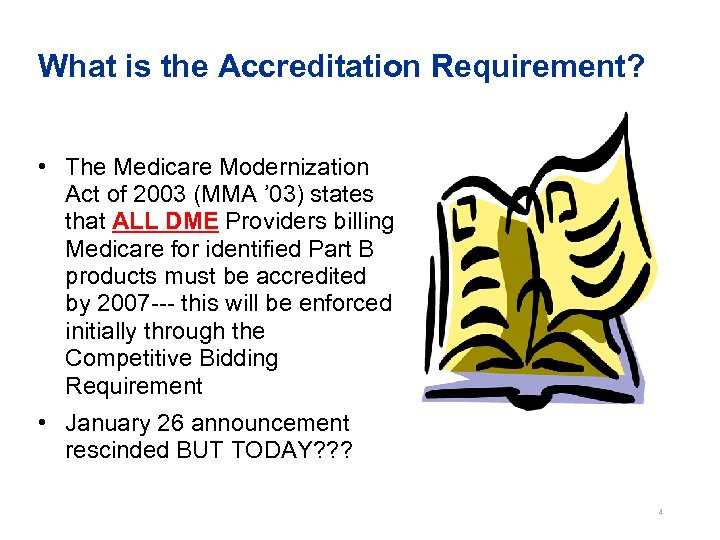 What is the Accreditation Requirement? • The Medicare Modernization Act of 2003 (MMA '