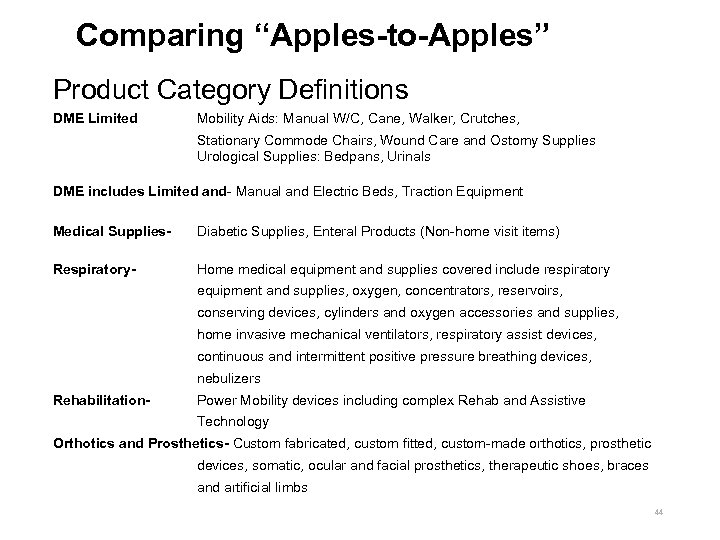 """Comparing """"Apples-to-Apples"""" Product Category Definitions DME Limited Mobility Aids: Manual W/C, Cane, Walker, Crutches,"""