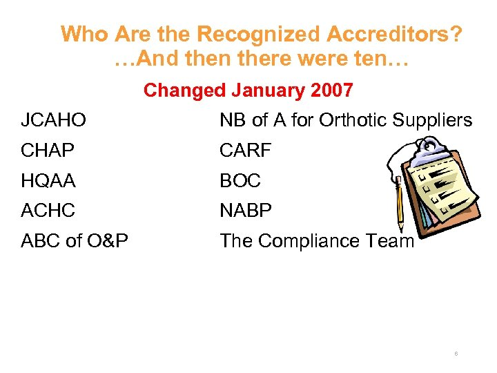 Who Are the Recognized Accreditors? …And then there were ten… Changed January 2007 JCAHO