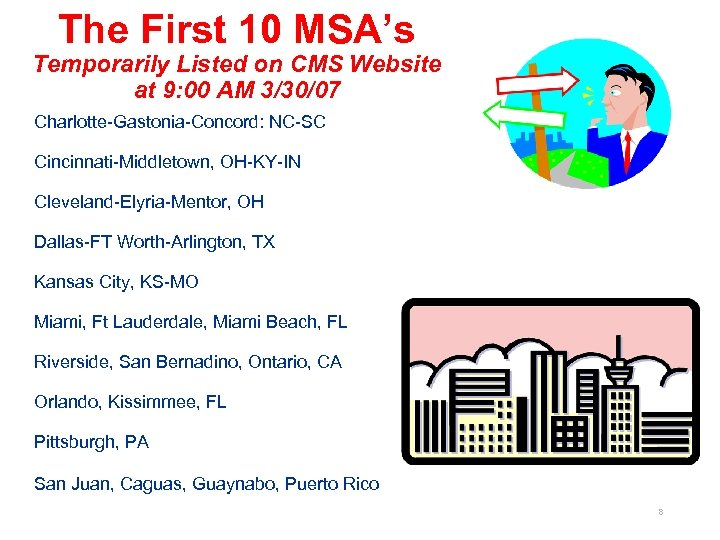 The First 10 MSA's Temporarily Listed on CMS Website at 9: 00 AM 3/30/07