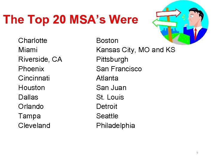 The Top 20 MSA's Were Charlotte Miami Riverside, CA Phoenix Cincinnati Houston Dallas Orlando