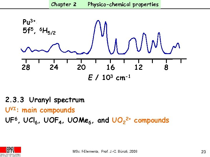 Chapter 2 Physico-chemical properties Pu 3+ 5 f 5, 6 H 5/2 28 24