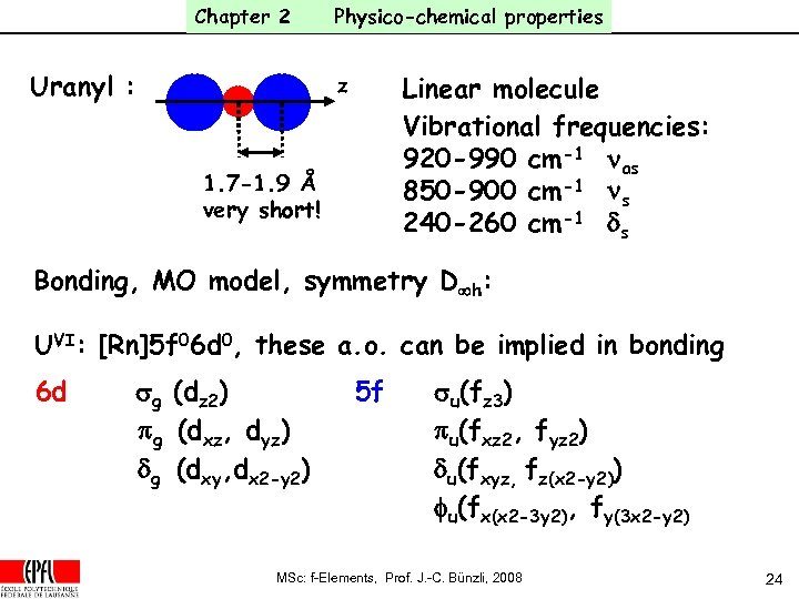 Chapter 2 Uranyl : Physico-chemical properties Linear molecule Vibrational frequencies: 920 -990 cm-1 nas