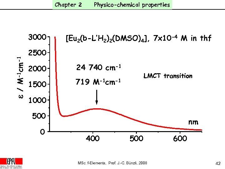 Chapter 2 e / M-1 cm-1 3000 Physico-chemical properties [Eu 2(b-L'H 2)2(DMSO)4], 7 x