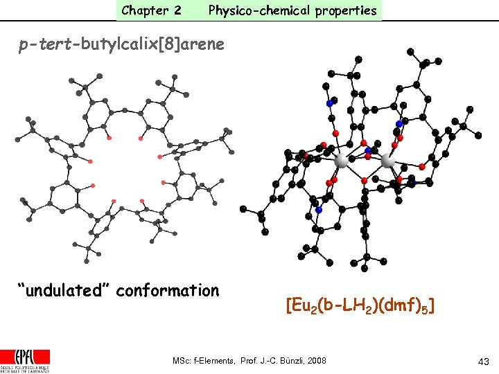 """Chapter 2 Physico-chemical properties p-tert-butylcalix[8]arene """"undulated"""" conformation [Eu 2(b-LH 2)(dmf)5] MSc: f-Elements, Prof. J."""