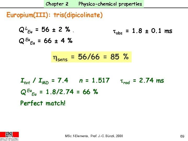 Chapter 2 Physico-chemical properties Europium(III): tris(dipicolinate) Q LEu = 56 ± 2 % tobs