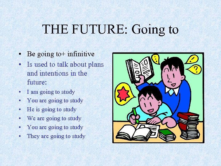 THE FUTURE: Going to • Be going to+ infinitive • Is used to talk
