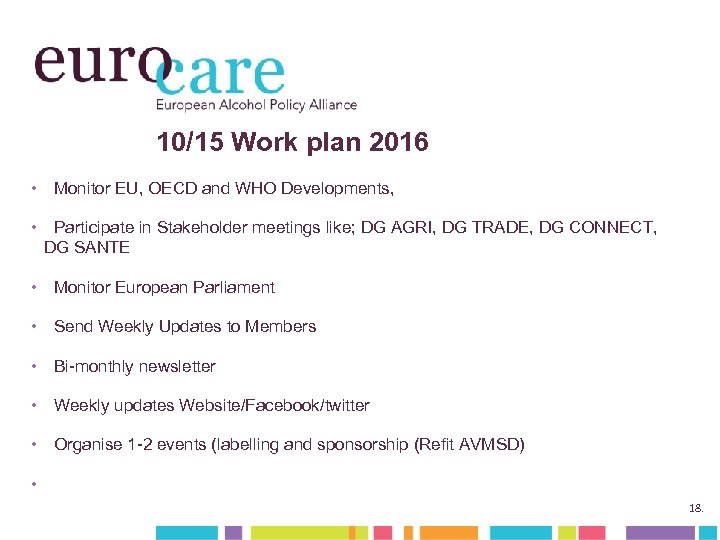 10/15 Work plan 2016 • Monitor EU, OECD and WHO Developments, • Participate in