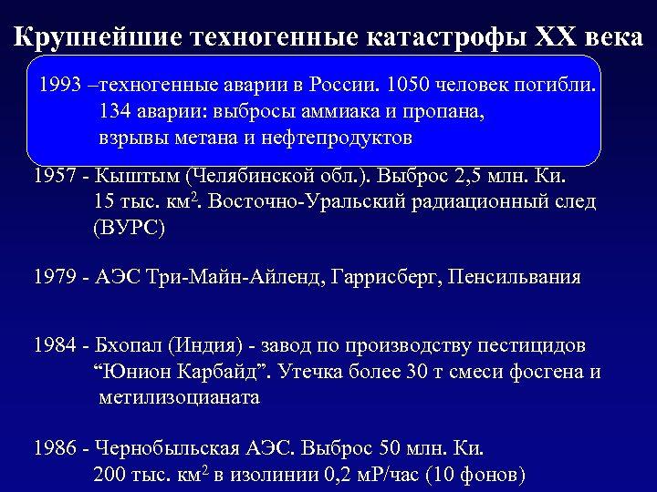 Крупнейшие техногенные катастрофы XX века 1950 -–техногенные аварии в России. 1050 человек погибли. 1993