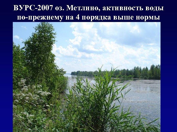 ВУРС-2007 оз. Метлино, активность воды по-прежнему на 4 порядка выше нормы