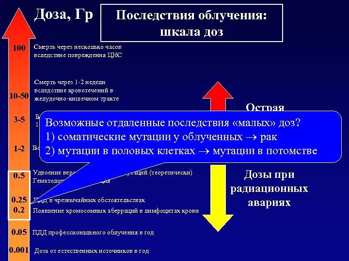 Доза, Гр 100 10 -50 3 -5 1 -2 0. 5 Последствия облучения: шкала