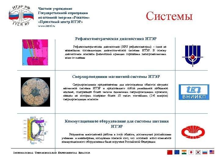 Частное учреждение Государственной корпорации по атомной энергии «Росатом» «Проектный центр ИТЭР» Системы www. iterrf.