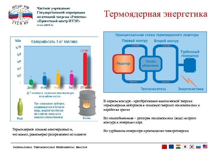Частное учреждение Государственной корпорации по атомной энергии «Росатом» «Проектный центр ИТЭР» Термоядерная энергетика www.