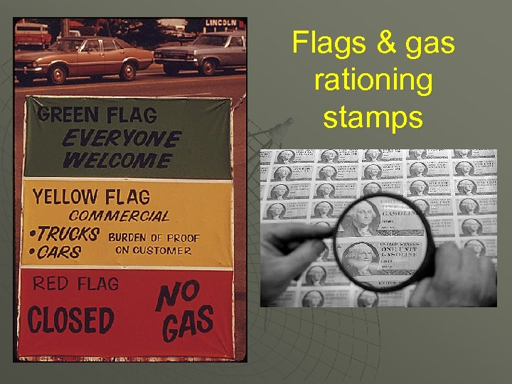 Flags & gas rationing stamps