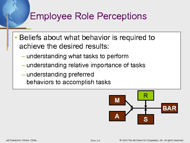 Employee Role Perceptions • Beliefs about what behavior is required to achieve the desired
