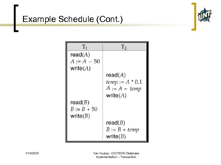 Example Schedule (Cont. ) 1/14/2005 Yan Huang - CSCI 5330 Database Implementation – Transaction